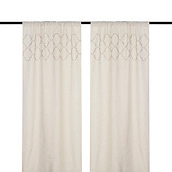 Taupe Quatrefoil Curtain Panel Set, 84 in.