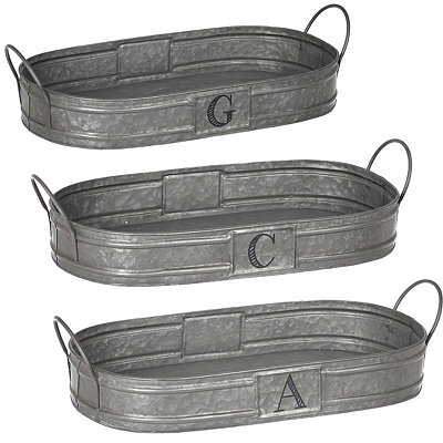 Oval Galvanized Metal Monogram Trays