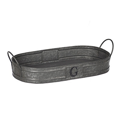 Oval Galvanized Metal Monogram G Tray