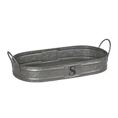 Oval Galvanized Metal Monogram S Tray