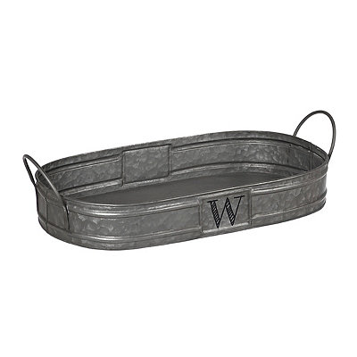 Oval Galvanized Metal Monogram W Tray