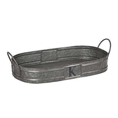 Oval Galvanized Metal Monogram K Tray