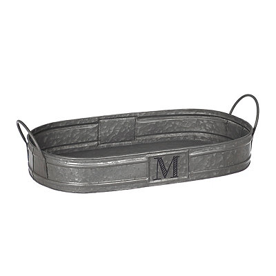 Oval Galvanized Metal Monogram M Tray