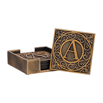 Edward Scroll Monogram A Coaster Set
