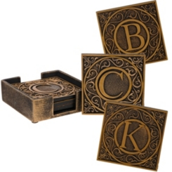 Edward Scroll Monogram Coaster Sets