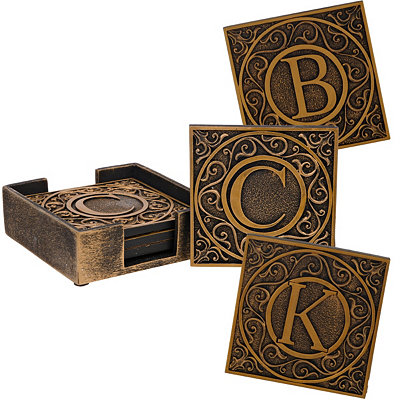 Edward Scroll Monogram Coaster Sets