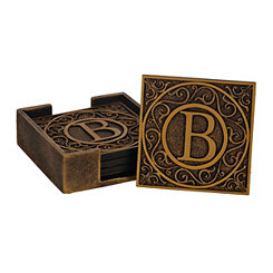 Edward Scroll Monogram B Coaster Set