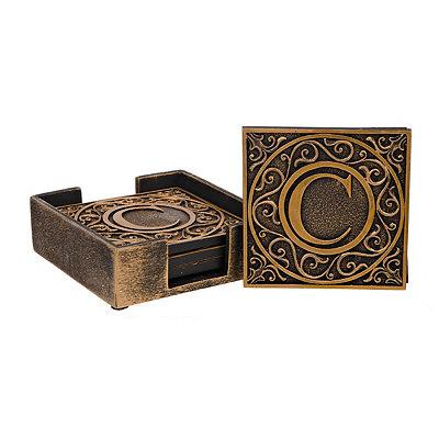 Edward Scroll Monogram C Coaster Set