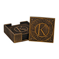 Edward Scroll Monogram K Coaster Set