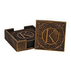 Edward Scroll Monogram K Coaster Set