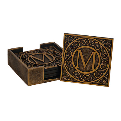 Edward Scroll Monogram M Coaster Set