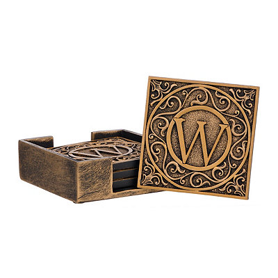 Edward Scroll Monogram W Coaster Set