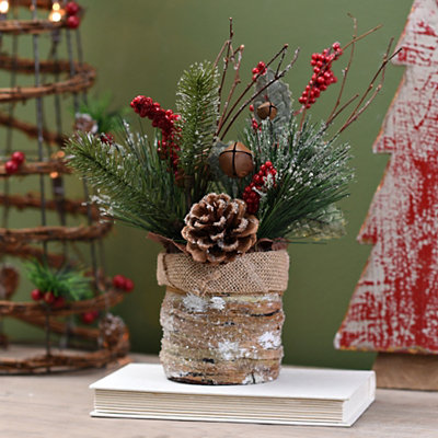 Pine and Berry Mixed Floral Arrangement