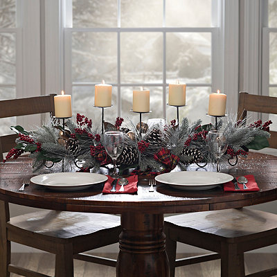 Plaid Evergreen Candle Centerpiece