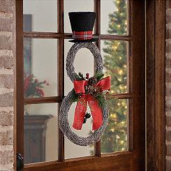Rattan Snowman Bell Wreath