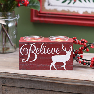 Believe Reindeer Votive Candle Holder