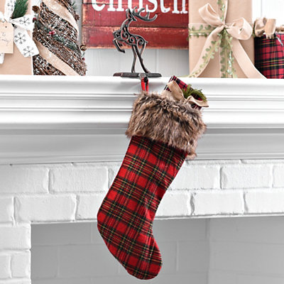 Fur Cuffed Plaid Stocking