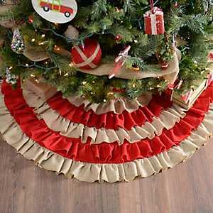 Red Striped Ruffled Tree Skirt
