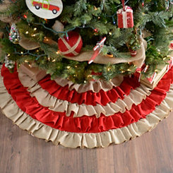 Red Striped Ruffled Tree Skirt