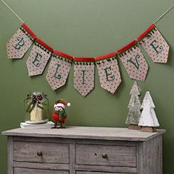 Polka Dot Believe Christmas Banner