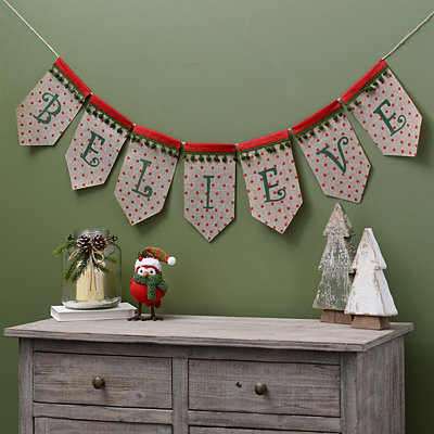 Polka Dot Believe Christmas Banner