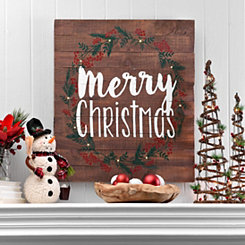 LED Merry Christmas Slatted Wood Plank Plaque