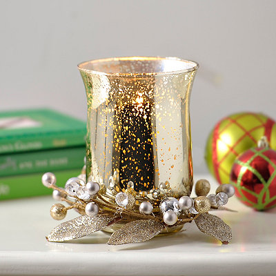 Champagne Berry Mercury Glass Candle Holder