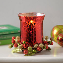 Red Berry Mercury Glass Candle Holder