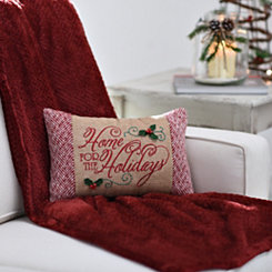Home For the Holidays Burlap Pillow