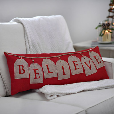 Red Believe Tags Pillow