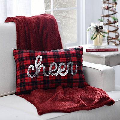 Plaid Sequin Cheer Pillow