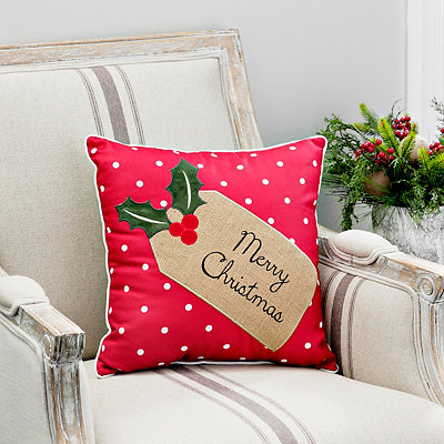 Merry Christmas Burlap Tag Pillow