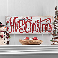 Merry Christmas Word Wood Plaque