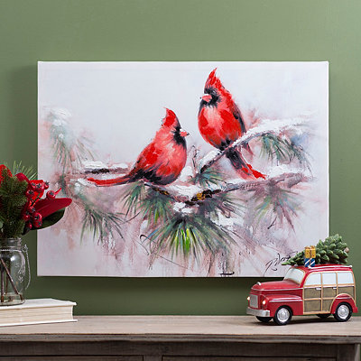 Cardinals On Pine Canvas Art