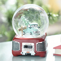 Retro Truck Musical Snow Globe