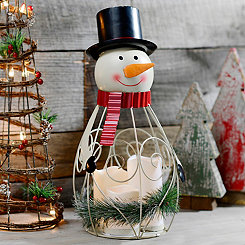 Metal LED 4-pc. Snowman Lantern Set
