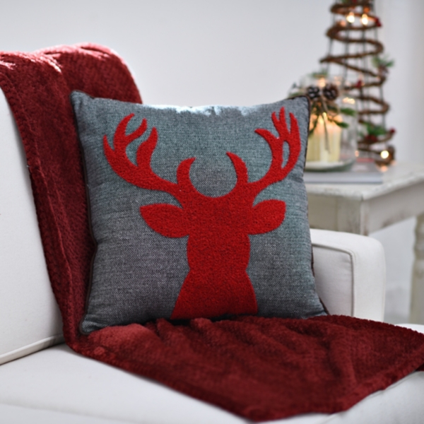 red reindeer silhouette pillow
