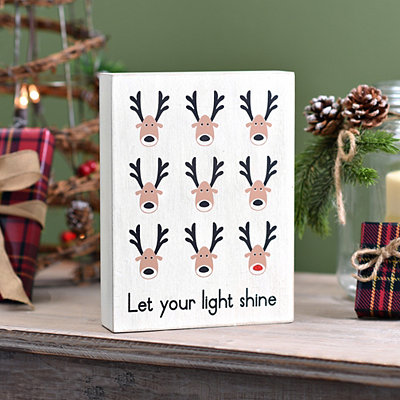 Let Your Light Shine Reindeer Block