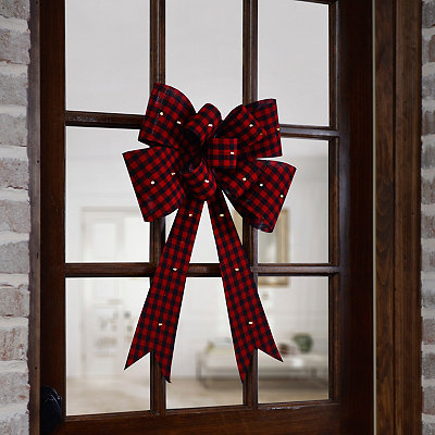 Pre-Lit Red Gingham Bow
