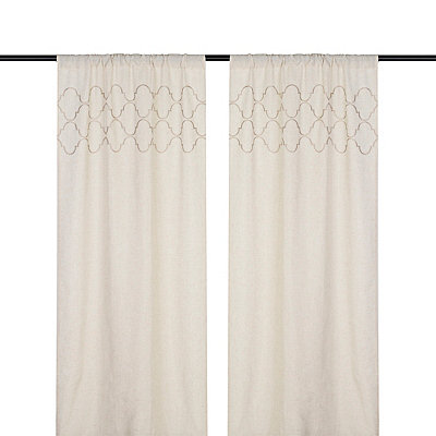 Taupe Quatrefoil Curtain Panel Set, 96 in.