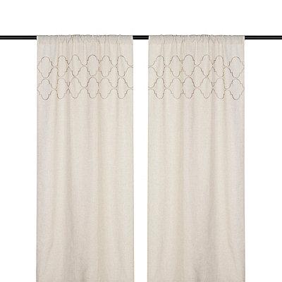 Taupe Quatrefoil Curtain Panel Set, 96 in.