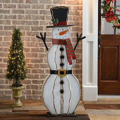 Wooden Winter Smiling Snowman Easel