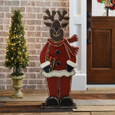 Wooden Winter Smiling Reindeer Easel