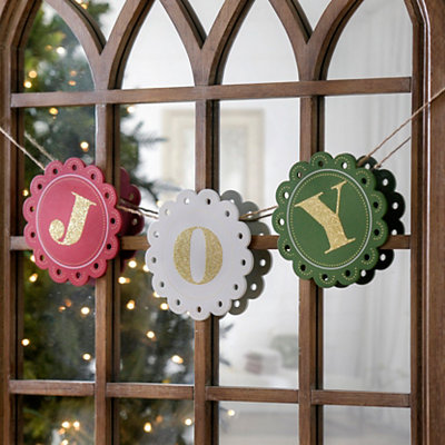 Wooden Joy Christmas Banner