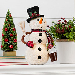 Pre-Lit Snowman with Broom Plush
