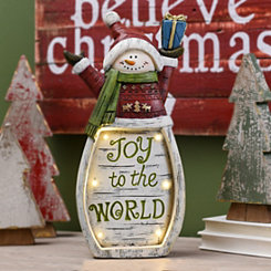 LED Joy to the World Snowman Statue