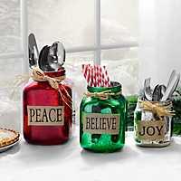 Believe, Peace, Joy Mercury Glass Jars, Set of 3