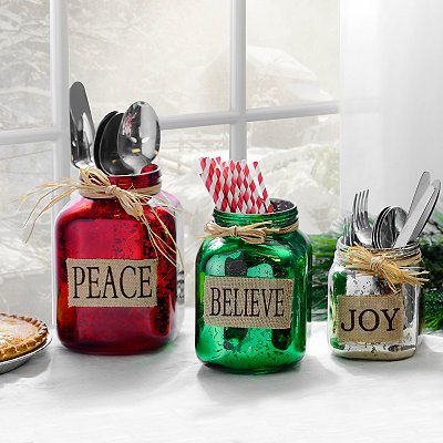 Believe, Peace, Joy Mercury Glass Jars, Set of 3