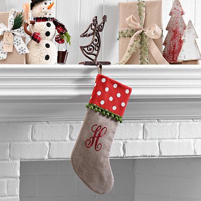 Polka Dot Monogram H Stocking