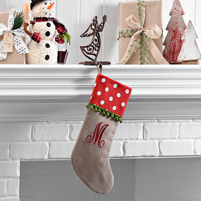 Polka Dot Monogram M Stocking